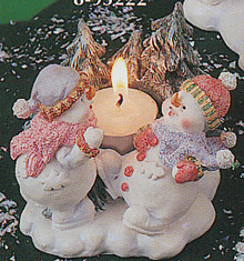 Snowmen Children Candle Holder