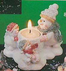 Snowmen Daddy w/ Children Candle Holder